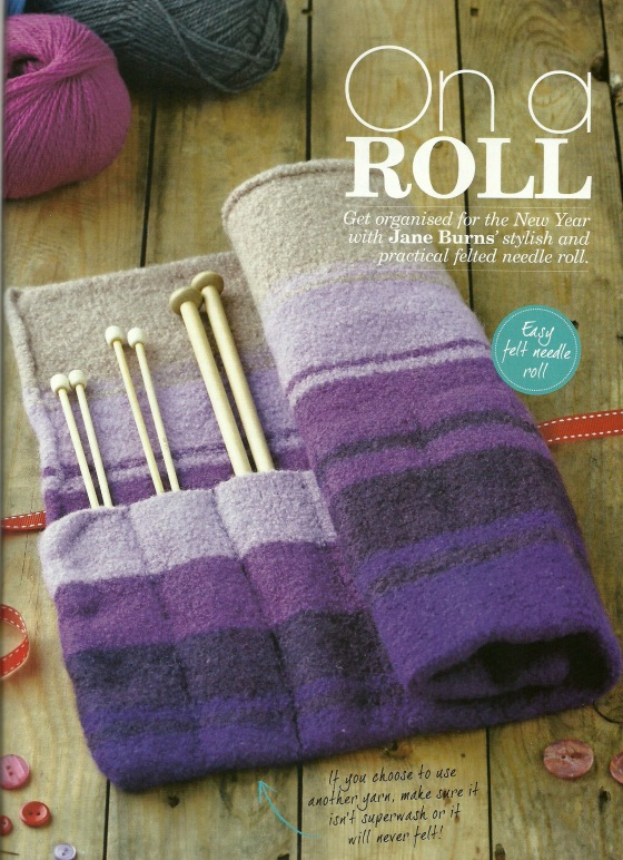 on a roll knitted felted needle roll