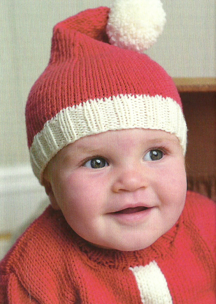 Knitting In The Round Baby Patterns : Santa Baby Hat & Sweater Jane Burns