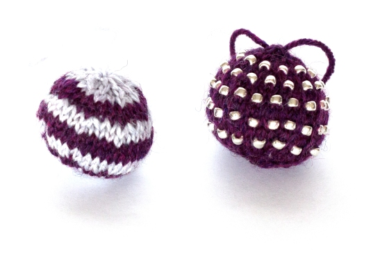 knitted christmas baubles jane burns