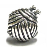 Sterling Silver ball of yarn and knitting needle charm knitting gift idea
