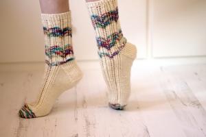 Lacy left over socks Jane burns knits
