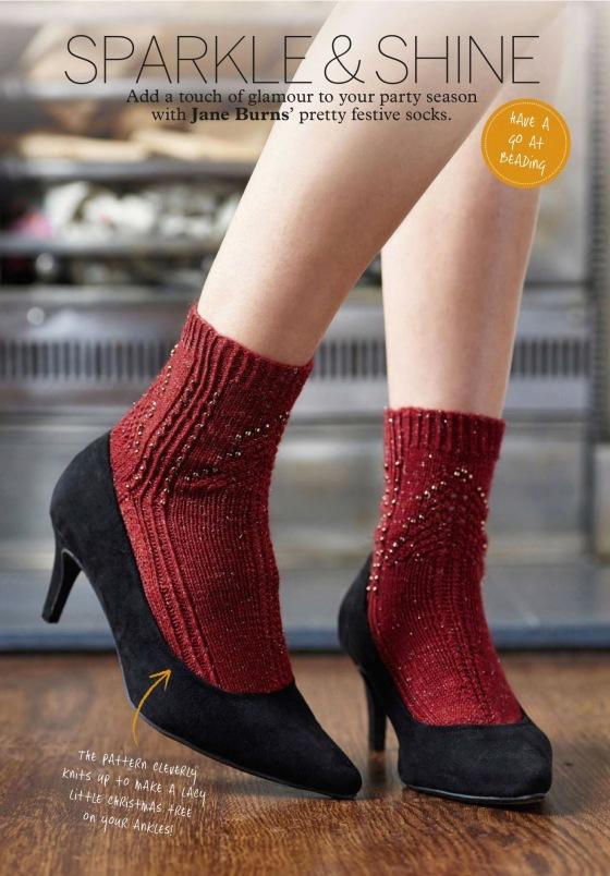 Bead knit Christmas tree socks Jane burns